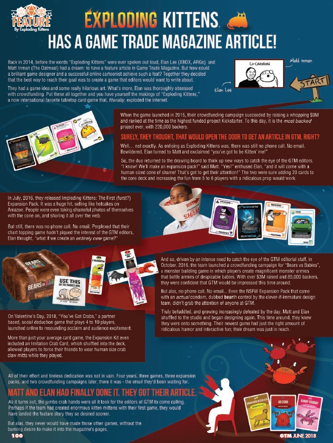 GTM #220 - Exploding Kittens Has a Game Trade Magazine Article!